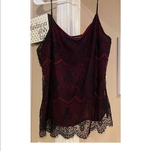 Red and black lace top